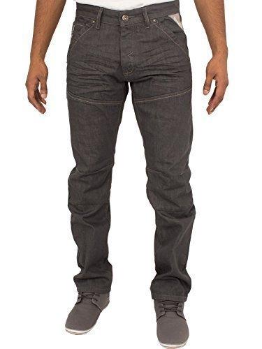 ENZO Herren EZ243 EZ244 Reguläre Passform Gerades Bein Klassisch Blau Jeans Jeans Größen 28-48 Grau Waschen