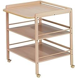 Geuther Table àLanger Clara naturelle - Plan à langer large + 2 étagères