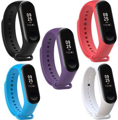 WindTeco 5X Correa Xiaomi Mi Band 3 / Mi Band 4, Silicona Repuesto Pulsera Recambio Reloj Banda Extensibles Correa Reemplazo, Azul Oscuro, Blanco, Púrpura, Negro, Rojo (Sin Rastreador de Actividad)