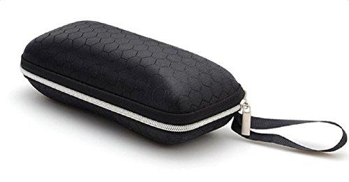 Da.Wa Brillenetui-Gummierte Außenschale Harte Außenschale Zipper-Box fur Sonnenbrille,17cm*7cm*6cm,Schwarz