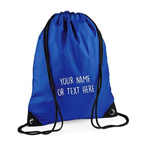 MYOG © Personalised Premium Drawstring Bag PE Gym Kit School P.E Kids Sport Rucksack (22 Colours) (Royal Blue)
