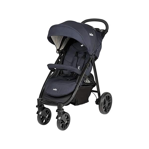 Joie Litetrax 4 Pushchair Navy Blazer  Bumper bar, raincover, shopping basket and parent tray with cupholders UPF 50+ sun canopy and oversized expandable hood SoftTouch 5-point safety harness adjusts to 3 heights 4-position recline and 2-position leg rest One-hand instant fold with automatic lock 3