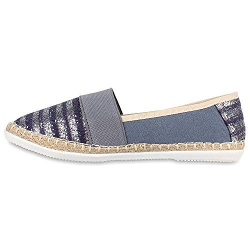 Damen Espadrilles Bast Slipper Glitzer Streifen Sommer Schuhe Grau