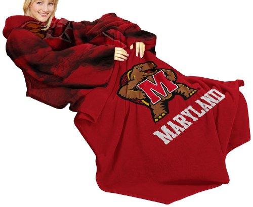 NCAA Maryland Sumpfschildkröten Comfy Überwurf Decke mit Ärmeln, rauch Design