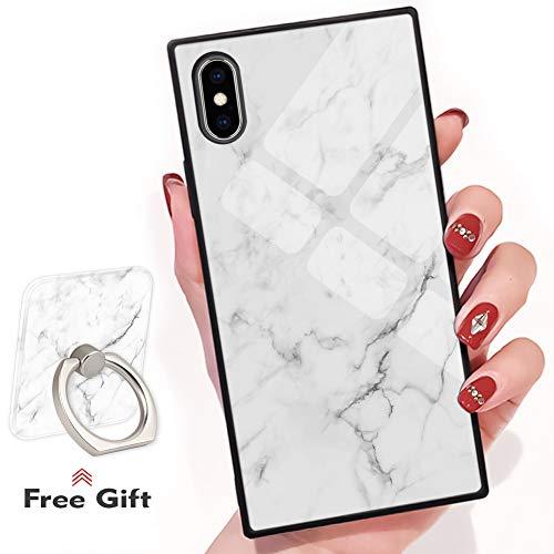 Bitobe iPhone X iPhone XS Square Edges Case mit Handy Ring Stand Grip Holder Soft TPU Slim Square Case iPhone X Phone Cover iPhone XS 5.8 Zoll, White Marble Design - Soft-grip-stand