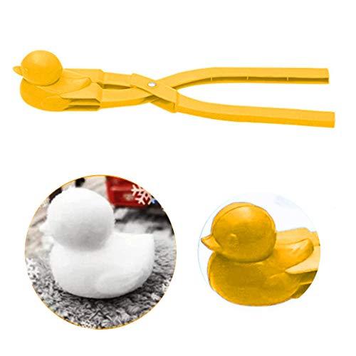 FBGood Schneeball Maker - Kunststoff-Ente geformt Winter-Schnee-Schaufel-Clip Sand-Lehm-Form-Werkzeug Kinder Spielzeug Outdoor-Schneeball -Kampf, Keine Kalten Hände Mehr (Gelb)