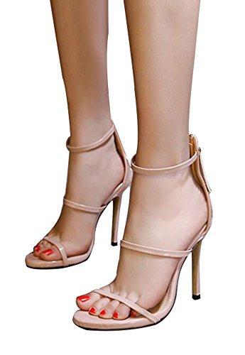 wealsex Sandales Escarpins Cuir Vernie Boucles Cheville Talon Haute Aiguille Bout Ouvert Fermeture Eclair Chaussure Talon Sexy Ete Noir Or Argent Rose Femmes Rose