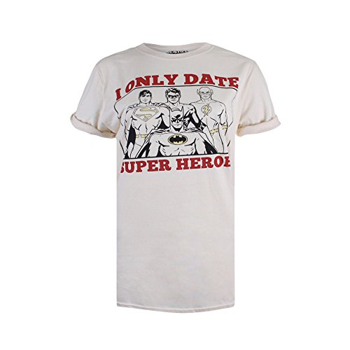 DC Comics Damen T-Shirt Only Date Superheroes, Off-White (Natural), 40