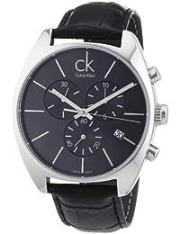 Calvin Klein K2F27107 - Reloj analógico de caballero de cuarzo con correa de piel negra