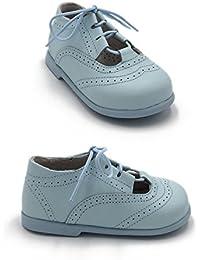 ELFOS - Zapato niño tipo gales. Todo piel. Suela Goma. Primeros pasos. Hecho en España. Color - CELESTE