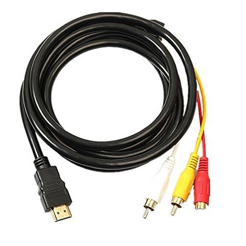 Byste 1,5m/1.5m HDMI vers 3RCA extension câble de signal adaptateur convertisseur pour HDTV DVD