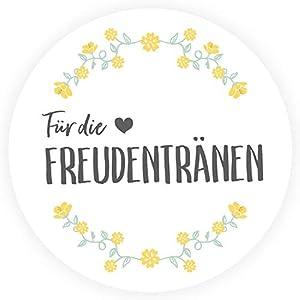 50 Freudentränen Sticker - Wunderschöne, runde Aufkleber zur Hochzeit - Blumenkranz, schwarz, DIY Wedding, Ø 4cm - Passend für Taschentücher