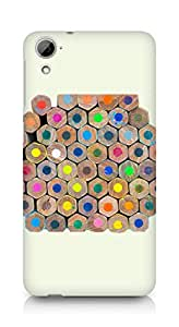 Amez designer printed 3d premium high quality back case cover for HTC Desrie 826 (Colorful Pencil)