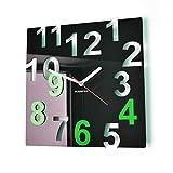 FLEXISTYLE Moderne Wanduhr, rechteckig, stillos, Nicht tickend, für Wohnzimmer, Schlafzimmer, 32 cm Schwarz/Grün