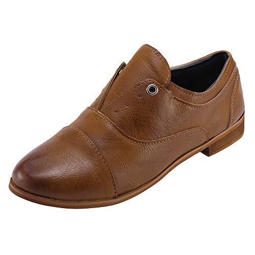 UFACE Vintage Damen Runde Zehe Schuhe Lederschuhe Slip-On Square Heel Single Schuhe