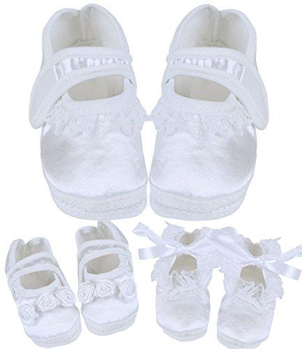 BabyPrem Baby Taufschuhe Babyschuhe Satin Taufe Kleidung Erstlingsschuhe 56-62cm Mädchen 3 Designs
