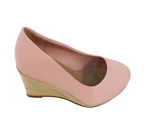 Klassische Damen Abend Keil Pumps Keilabsatz Plateau Schuhe Bequem B13 Pink