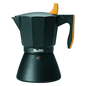 IBILI Espresso Coffee Maker Sensive for 9 Cups, Aluminium, Black/Orange, 10 x 10 x 14 cm