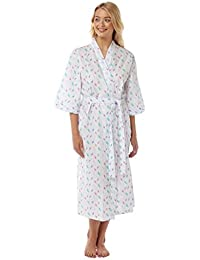 8c68a10646 Suzy   Me Women s Lightweight Feather Print Wrapover Dressing Gown