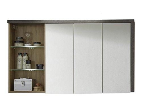 trendteam BY Spiegelschrank Badezimmerschrank | Eiche Riviera honig | Beton dunkel | 123 x 71 cm