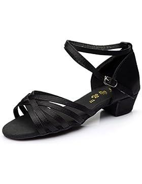 Alharbi Zapados de Baile Latino Para Niña Zapatos Para Niña Zapatos de Baile Satin de Salón Salsa Tango Latino