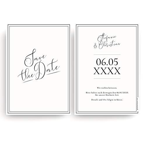 (20 x) Save the Date Karten zur Hochzeit - Einladungskarten Hochzeitseinladungen Weiß