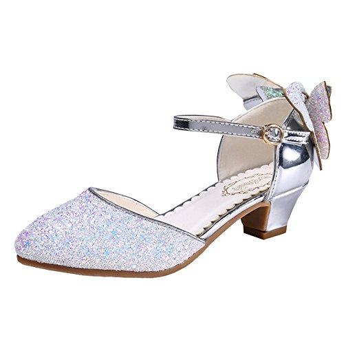 Chaussures en cristal princesse pour filles Sequins Talons Sandale à la robe de soirée (34/ Longueur intérieure 21.5cm, Argent)