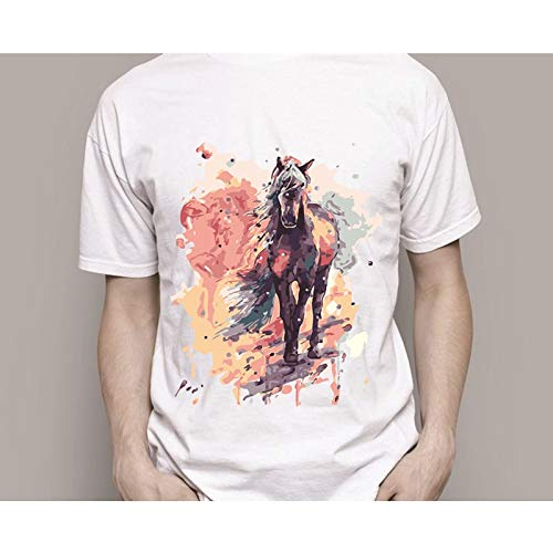 Msliuhuahua Buntes Pferd DIY T-Shirt Digital-Malen Nach Zahlen Auf T-Shirt Moderner Mode-Kunst-Malerei Auf Einzigartiger Kleidung Geschenk-DIY des Stoffes
