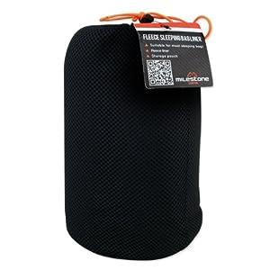 41MOUIRQygL. SS300  - Milestone Camping 26020 Fleece Sleeping Bag Liner-Black, L220 x W85cm