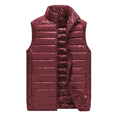 Logista Herren Mikro-Daunen-Weste Bordeaux - Echt-Daunen-Weste rot, Ultraleicht, inkl. Verpackungsbeutel (XL)