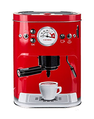 Kaffeedose Prägung Espressomaschine Retro Look Kaffee Vorratsdose Blechdose Metall-Dose Rot