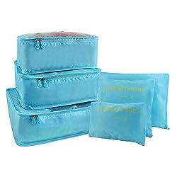 Vicloon Koffer Organizer Set 6-teilig, Gepäck Organizer, Reise Kleidertaschen, wasserdichte Organizer Tasche für Kleidung Kosmetik Schuhbeutel Aufbewahrungstasche - Himmel Blau