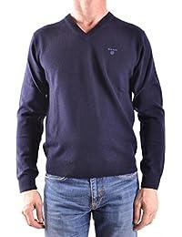 Gant Sweater col V en laine d'agneau pour homme, Bleu marine, Laine d'agneau,
