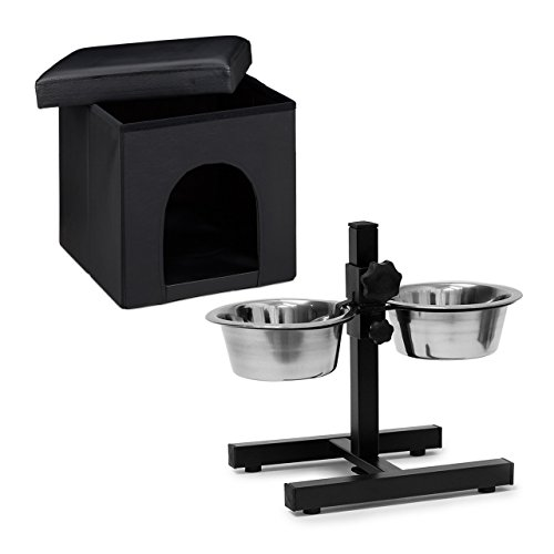 2 teiliges Set Home Sweet Hund Deluxe XL, Hundebox als Sitzhocker mit Tierhöhle, Hundebett schwarz, Doppelnapf höhenverstellbar, - Hund-wasser-station Großer