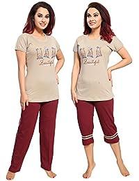 "TUCUTE Women/Girls Cotton Hosiery 3 pcs Top, Pajama & Capri Nightwear/Nighty / Nightsuit/Loungewear/ Nightsuit (Top,Pajama & Capri) Size: Large=38"" & XL-40"