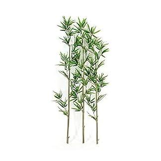 Verdevip Bamboo Bambu–Juego 3cañas auténticas–Hojas artificiales resistentes a los rayos U.V. Certificado Tuv–Alto 150cm