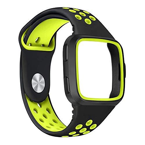 Vamoro Ersatz-Uhrenarmband-Armband aus weichem Silikon-Sportarmband + Rahmen für Fitbit Versa Soft Silikon Classic Sportarmband Ersatz Uhrenarmbänder(Grün)