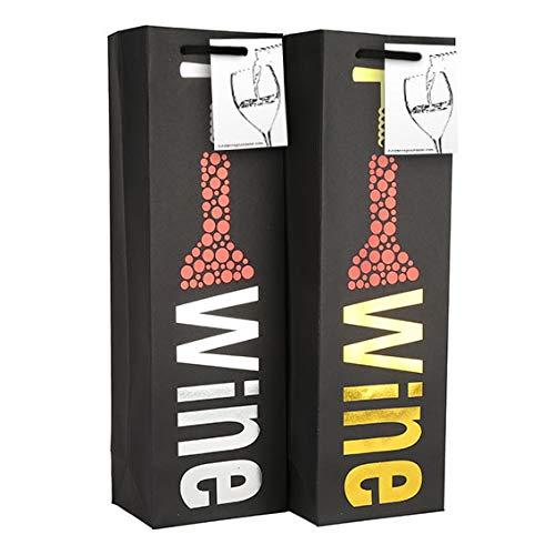 6er Pack Premium Black Wine Geschenktüten mit Geschenkanhänger und Griffen - Korkenzieher Design - Weinflaschenträger für Hochzeit, Jubiläum, Geburtstag, besondere Anlässe, H 39 cm x B 12 cm x T 9 cm