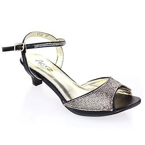 Aarz donne del partito di sera delle signore di nozze a basso Tacchetto a spillo peep toe Sandal Formato dei pattini Diamante (Oro, Argento, champagne, nero, rosa)