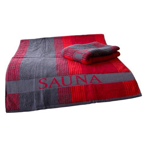 Finnsa Saunatuch XL in rot-grau, 200x80cm