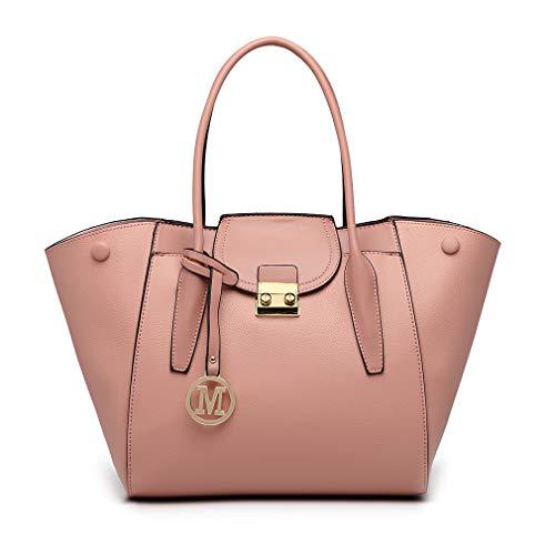 Miss Lulu Henkeltasche Damen Schultertaschen Multifunktional Kunstleder Für Shopper Arbeit (Pink) - Rosa Leder Damen Aktentasche