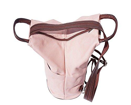 Florence Leather  207, Sac à main porté au dos pour femme noir, Black & Tan (multicolore) - 207 Rose/brun