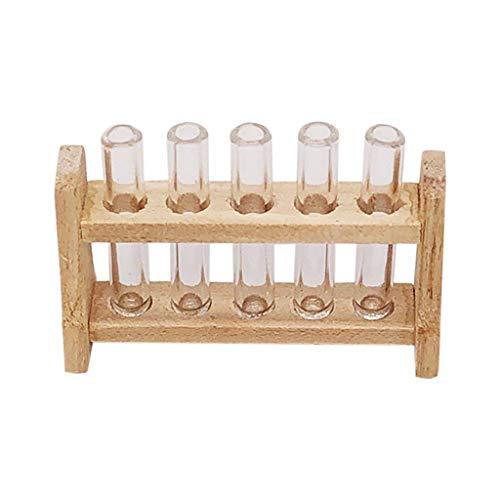 Barbare 1/12 Maison de Jouet Miniature Laboratoire Portoir pour Tubes à essai pour la décoration du Salon (A)