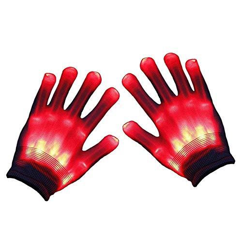 FOONEE wechselnde blinkende Skelett-Handschuhe, LED-Handschuhe, Lightshow Tanzhandschuhe für Clubbing, Halloween, Rave, Geburtstag, EDM, Disco, und Party rot (Rave Handschuhe Leichte)