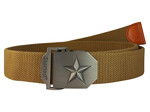Ammvi Creations 3D Vitruvian Star Steel Buckle Free Size Pastel Khaki Webbed Tactical Canvas Belt for Men
