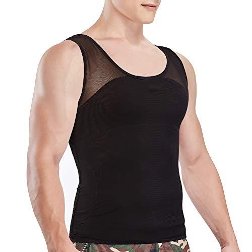 VENI MASEE Camisa de compresión Slim para Hombres, para Ocultar ginecomastia Moobs Cofre Adelgazante Body Shaper Camiseta