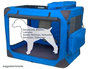 Valentina Valentti XXL Dog Folding Canvas Carrier Transport Soft Crate Blue V8