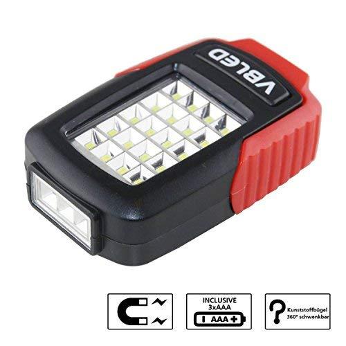 Preisvergleich Produktbild VBLED Universal Taschenlampe mit 20 + 3 LEDs,  Magnet-Halterung und Haltebügel zum Einsatz als Arbeitsleuchte,  inklusive 3 x Batterien
