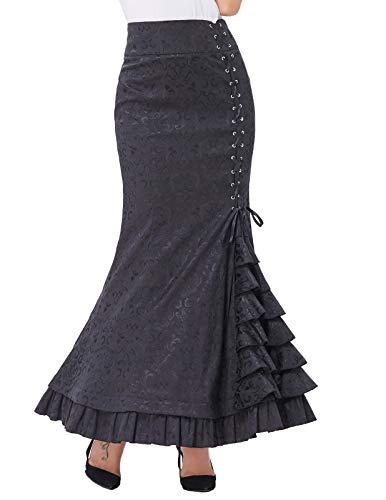 Damen Viktorianisch Gothic Jacquard Maxi Party Rock ()