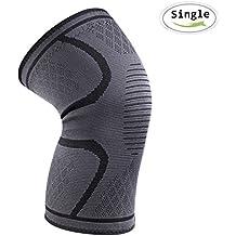 Rodillera Menisco-iBuger Knee Brace Manga de compresión de rodilla totalmente ajustable alivio seco transpirable abierto rótula dolor en la rodilla del menisco, la artritis y la ACL,Gris (Pequeño)